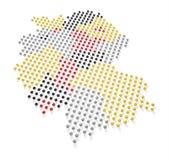 德国地图和旗子颜色3 库存照片