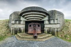 德国地堡和火炮在诺曼底,法国 库存照片