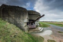 德国地堡和火炮在诺曼底,法国 免版税库存图片