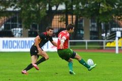德国对橄榄球的葡萄牙7个格兰披治系列在莫斯科 免版税库存图片