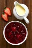 德国强记Gruetze红色莓果布丁用香草乳蛋糕 库存图片