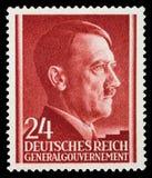 德国德国政府 大约1939年- c 1944年:与刻画的邮票阿道夫・希特勒 免版税库存图片