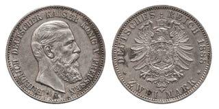 德国德国普鲁士普鲁士人的银币2两马克1888 库存照片