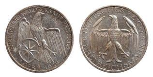 德国德国银币3三马克与普鲁士魏玛共和国的统一waldeck 图库摄影