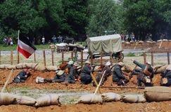 德国战士reenactors战斗 免版税库存照片