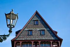 德国房子灯笼屋顶 免版税库存照片