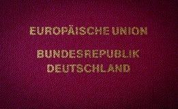 从德国护照的文本 免版税库存图片