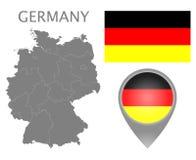 德国旗子、地图尖和地图与分裂地球上 库存例证