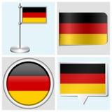 德国旗子-套贴纸,按钮,标签 免版税库存图片