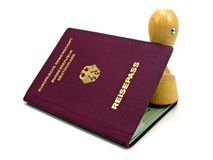 德国查出的护照印花税 免版税图库摄影