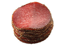 德国查出的胡椒蒜味咸腊肠香肠 免版税库存照片