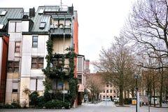 德国样式的传统房子在菲尔特 房子建筑学在德国 房子用植物盖 库存图片