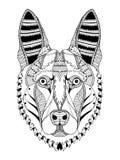 德国牧羊犬狗头zentangle传统化了,导航,例证 免版税库存图片