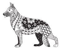 德国牧羊犬狗头zentangle传统化了,导航,例证 皇族释放例证