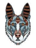 德国牧羊犬狗头zentangle传统化了,导航, illustratio 免版税库存照片