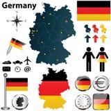 德国的地图有地区的 免版税库存照片