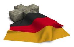 德国的基督徒十字架和旗子 皇族释放例证