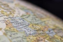 德国的宏观地球地图细节 免版税图库摄影