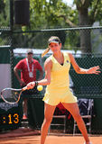 德国的职业网球球员茱莉亚Goerges在她的比赛期间的在罗兰・加洛斯2015年 库存照片