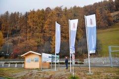 德国老人身分和旅行Skiparadise Nauders在波尔查诺或bozen,意大利 免版税库存图片