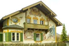 德国被绘的房子oberamergau 免版税图库摄影