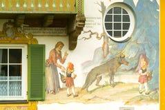 德国被绘的房子oberamergau 库存图片