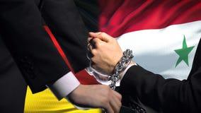 德国认可叙利亚,被束缚的胳膊,政治或者经济冲突,商业禁令 股票录像
