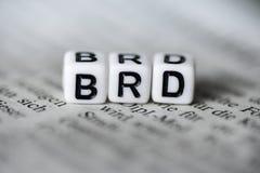 德国词BRD由在报纸的木字母表块形成了 免版税库存照片