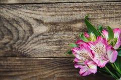 德国锥脚形酒杯桃红色花花束在木背景的 免版税图库摄影