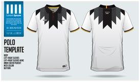 德国队马球T恤杉体育足球球衣、橄榄球成套工具或者运动服的模板设计 经典衣领体育制服 库存例证