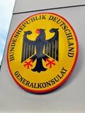 德国领事馆标志 免版税库存照片
