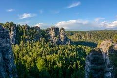 德国风景,萨克森,撒克逊人的瑞士国家公园 免版税图库摄影
