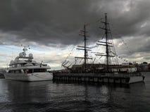 德国风船在彼得斯城镇 库存图片