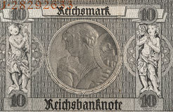 10德国马克钞票片段, 1929年 免版税图库摄影