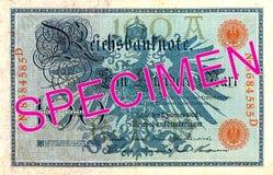 100德国马克钞票1908正面 库存照片