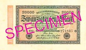 20000德国马克钞票1923正面 库存图片