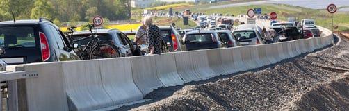 德国高速公路交通堵塞 图库摄影