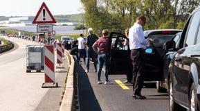 德国高速公路交通堵塞 库存图片