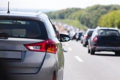 德国高速公路交通堵塞 免版税图库摄影