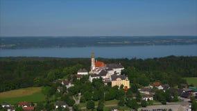德国,巴伐利亚,上巴伐利亚行政区,安德希斯修道院鸟瞰图  股票录像