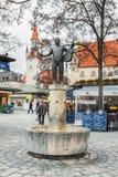 德国,慕尼黑 巴法力亚国家市场 喷泉Roider Jackel 库存照片