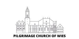 德国,施泰因加登,Wies线旅行地平线集合朝圣教会  德国,施泰因加登,Wies朝圣教会  向量例证