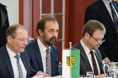 德国,莱比锡- DEZEMBER 07日2017年:联邦政府的内务部长开内务部长会议  库存图片