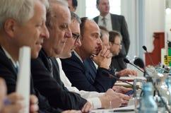 德国,莱比锡- DEZEMBER 07日2017年:联邦政府的内务部长开内务部长会议  免版税库存照片