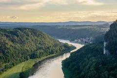 德国,萨克森 国家公园撒克逊人的瑞士易北河 免版税库存图片