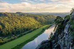 德国,萨克森 易北河在撒克逊人的瑞士国家公园 免版税库存图片