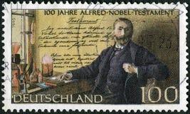 德国- 1995年:展示阿尔弗莱德贝恩哈德诺贝尔1833-1896,在实验室,诺贝尔资金建立了 免版税图库摄影