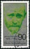 德国- 1978年:展示雅努什・科扎克1878-1942,医师,教育家,儿童` s的拥护者纠正 免版税图库摄影