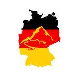 德国-德国阿尔卑斯的旗子有说明的 免版税库存照片