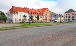 德国建筑的大厦的Angerap旅馆胜利广场的在市Ozyorsk 库存照片